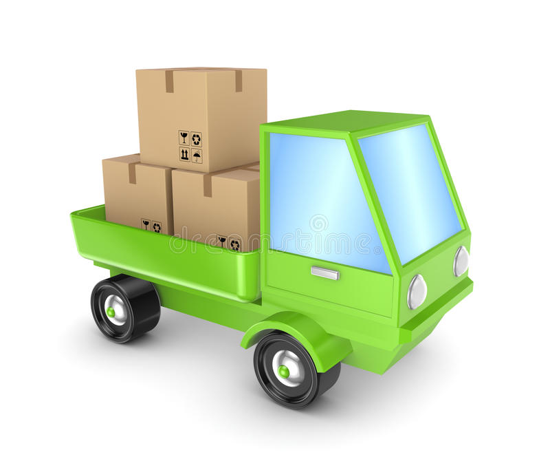 与纸盒配件箱的绿色卡车。 库存例证