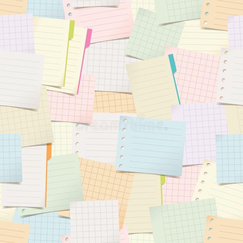 与纸笔记的无缝的样式 库存例证