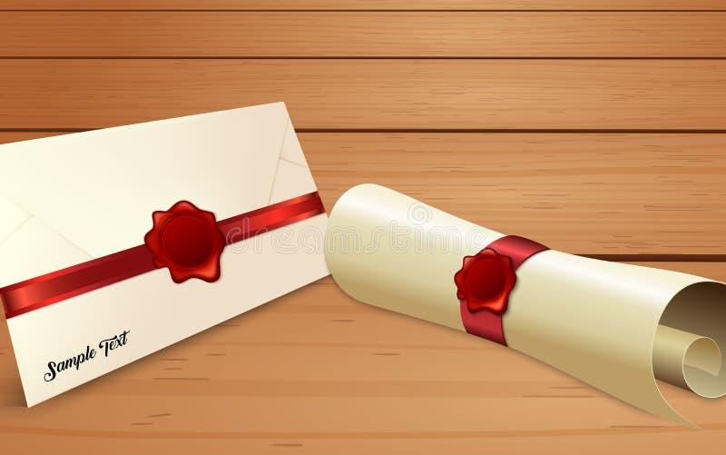 与纸纸卷和红色蜡封印的信封 库存例证