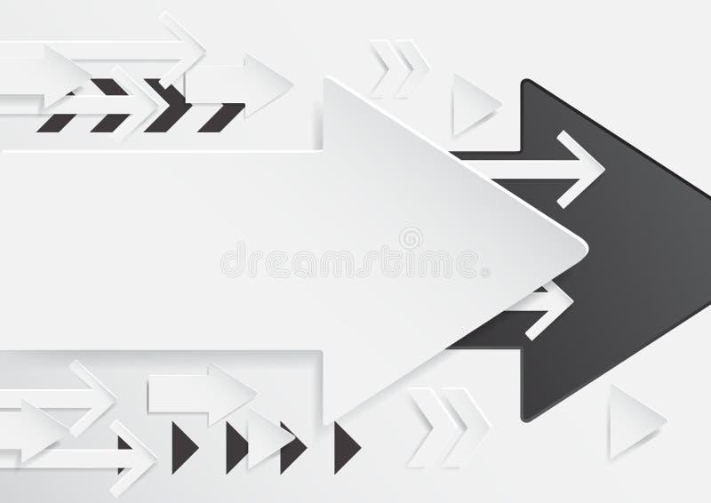 与纸艺术样式的抽象箭头背景 库存例证