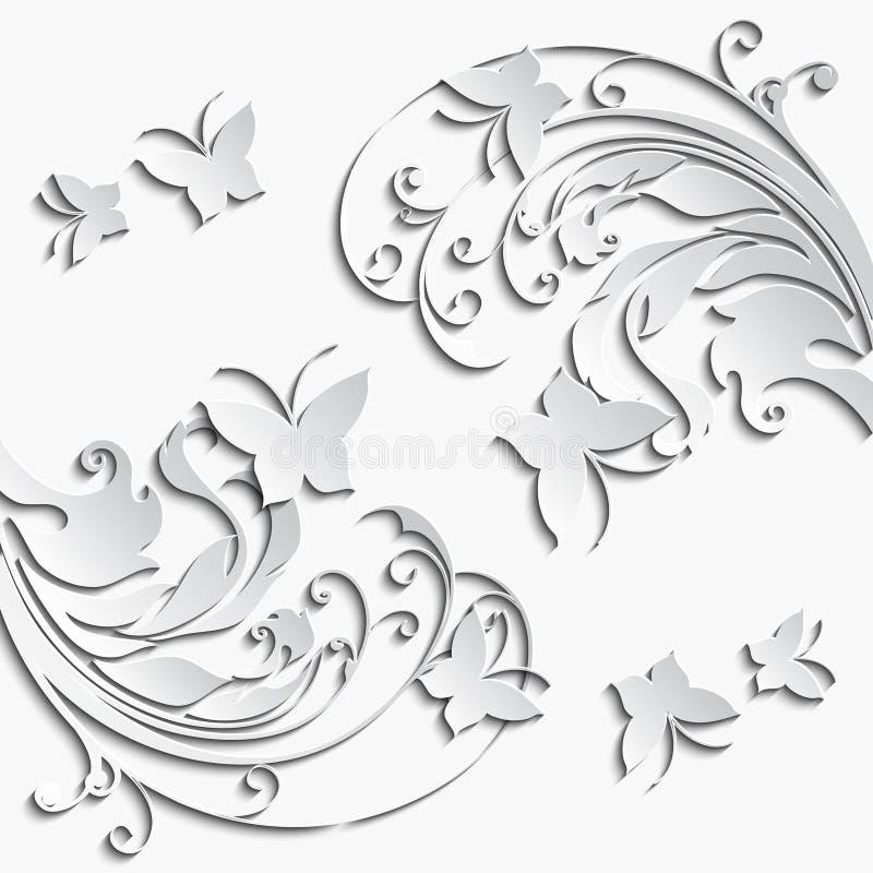 与纸花蝴蝶的抽象花卉背景 库存例证
