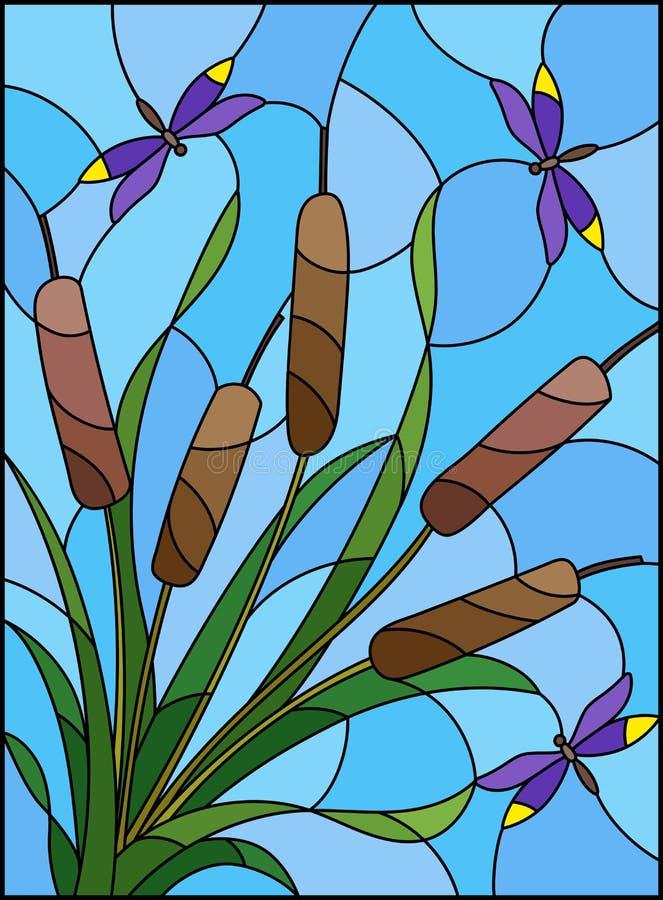 与纸莎草和蜻蜓花束的彩色玻璃例证在天空背景 向量例证