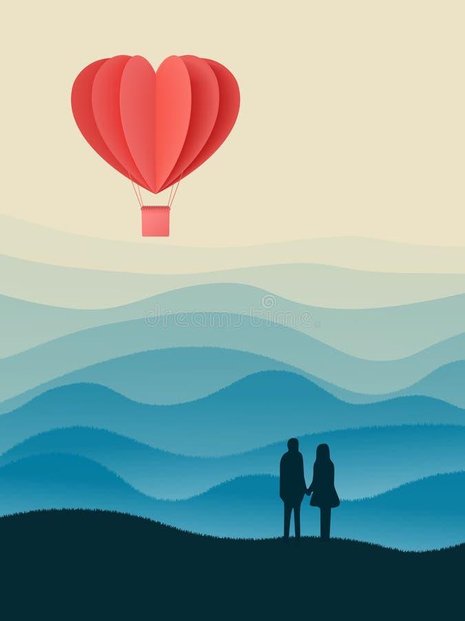 与纸被切开的红心形状origami的愉快的情人节两次曝光传染媒介例证做了飞行在sk的热空气气球 向量例证