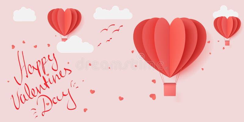 与纸被切开的红心形状origami的愉快的情人节印刷术传染媒介例证设计做了飞行热空气的气球  皇族释放例证