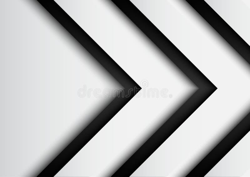 与纸裁减模板的黑白箭头背景 库存例证