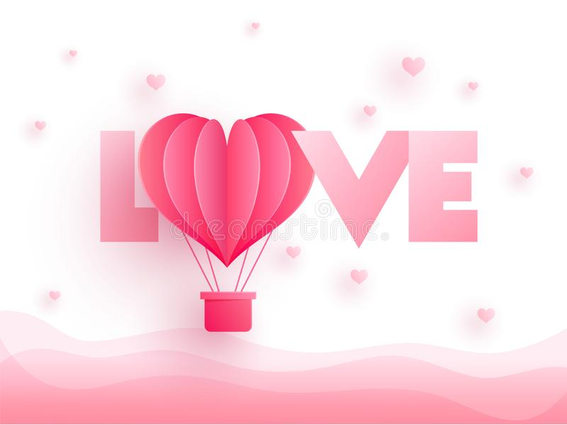 与纸裁减热空气气球的光滑的桃红色文本爱在心脏de 皇族释放例证