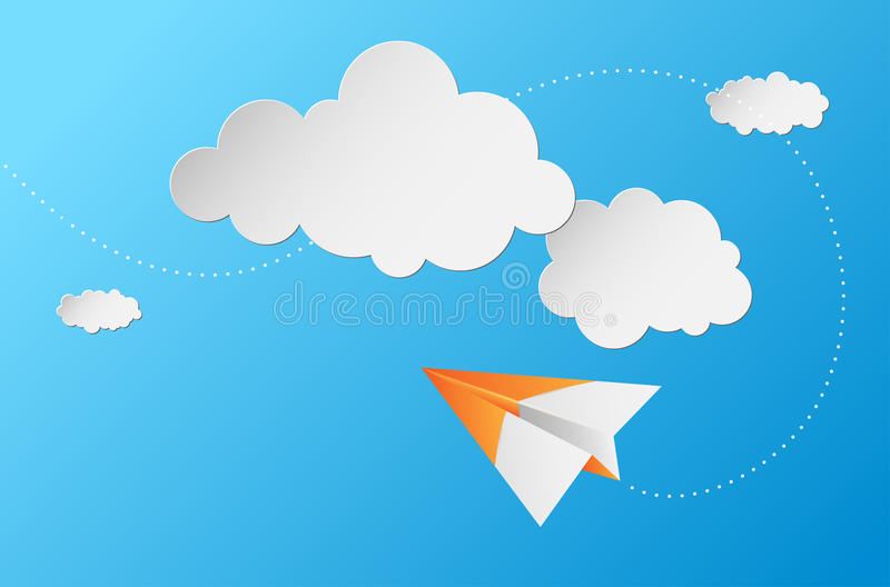 与纸飞机、云彩和蓝天的抽象背景 向量例证