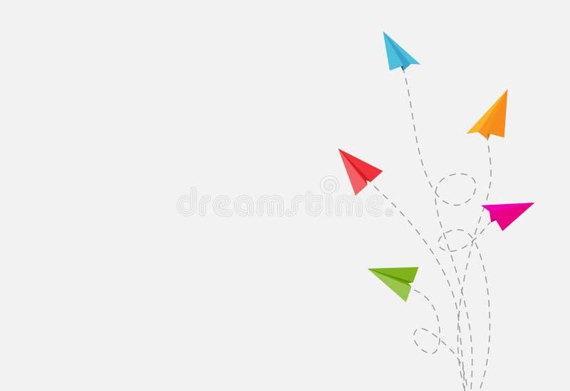 与纸飞机改变的方向向量例证的抽象背景 库存例证