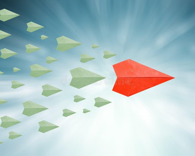 与纸飞机的领导概念 库存图片