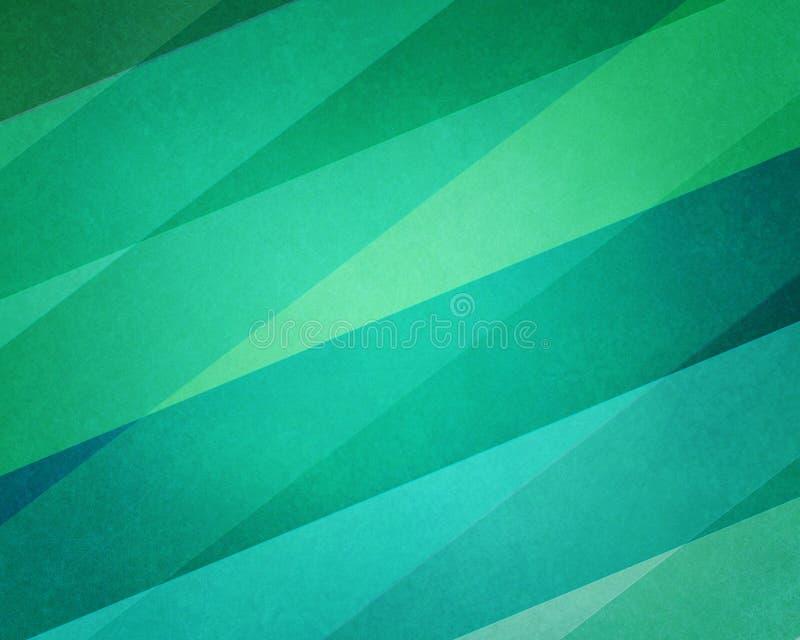 与纹理和对角样式设计的抽象镶边蓝色和绿色背景 向量例证