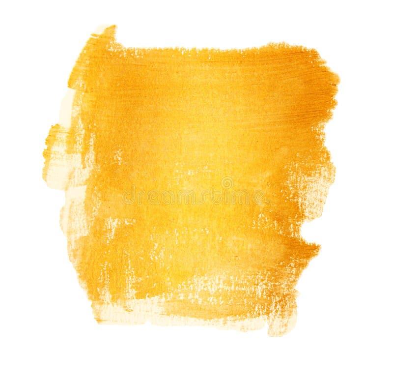 与纹理的丙烯酸酯的金刷子冲程绘污点 隔绝,手画 库存图片