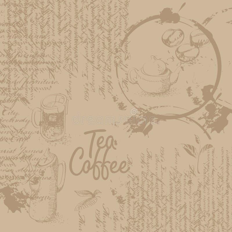 与纹理的咖啡背景 库存例证
