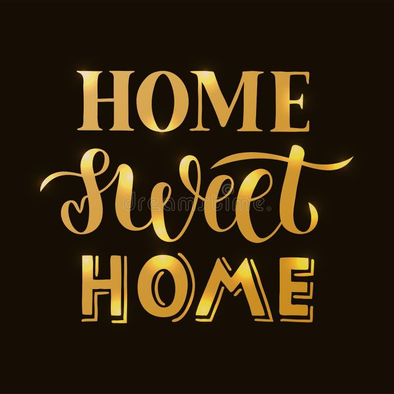 与纹理的家庭甜家庭的手拉的在上写字的行情卡片、印刷品或者海报的 向量例证