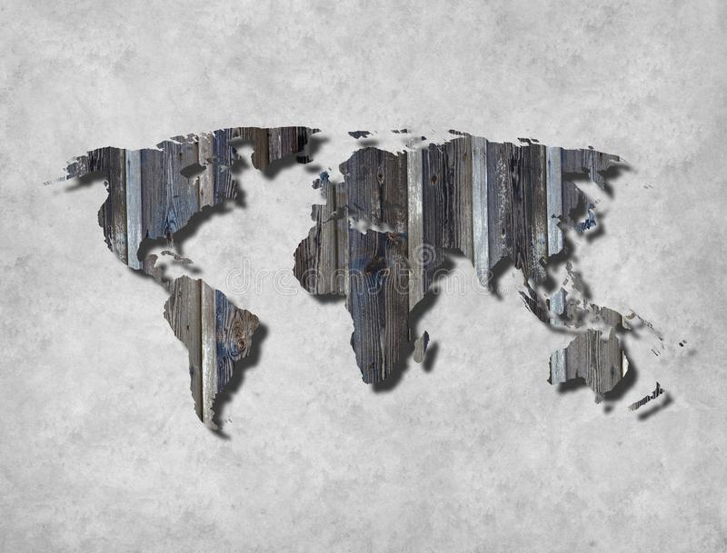 与纹理的抽象世界地图背景 免版税库存照片