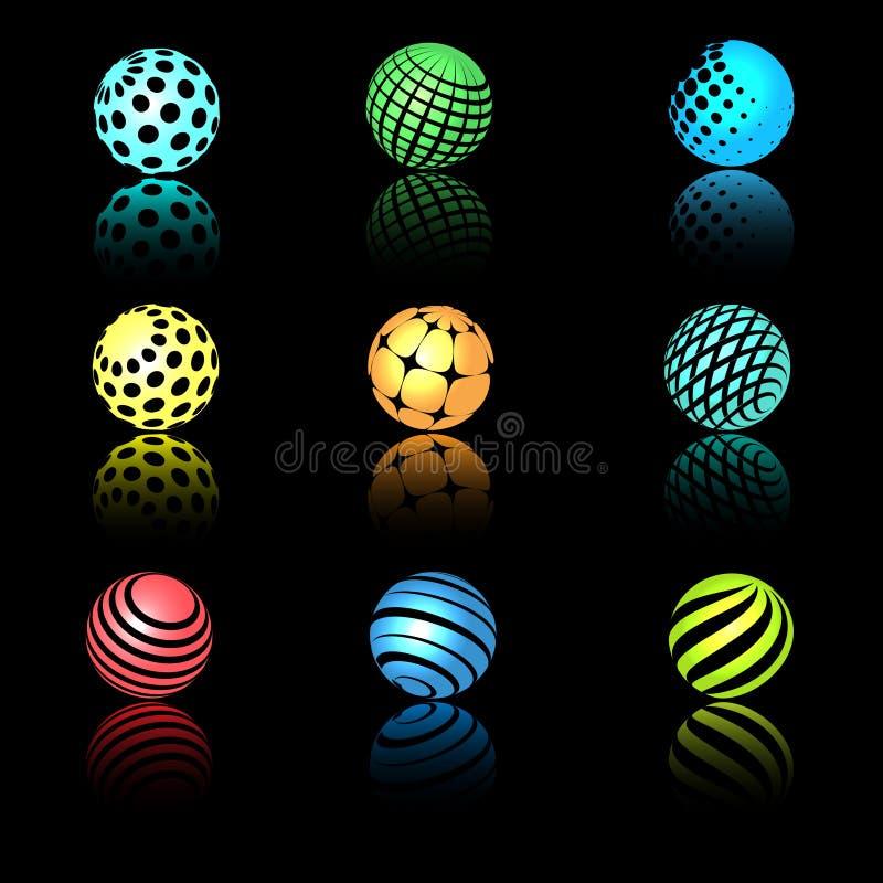 与纹理的球形3d对象 向量例证