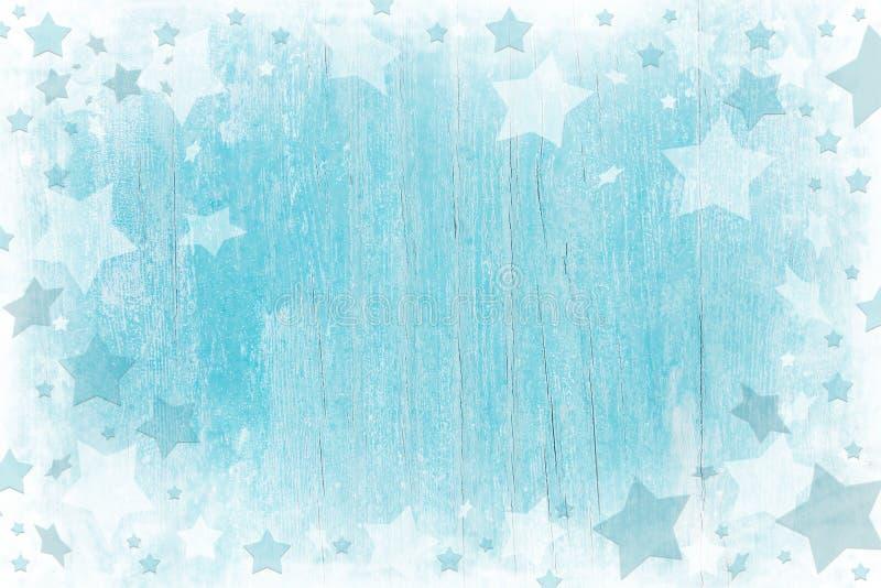 与纹理的蓝色或绿松石木圣诞节背景 免版税库存图片