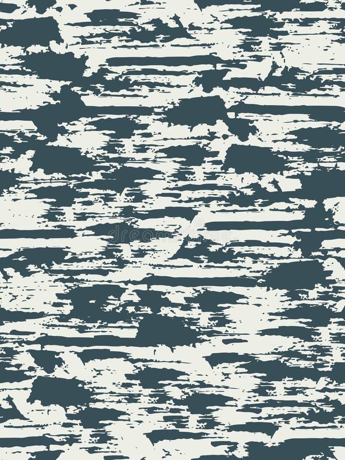 与纹理被轰击的表面的无缝的样式 在蓝色和白色颜色的背景 grunge 墨水和刷子 摘要 拉长的现有量 向量例证