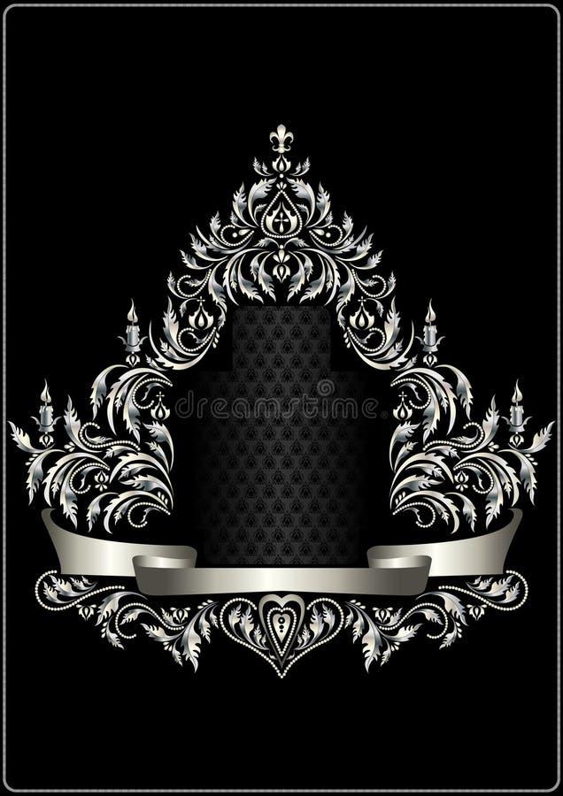 与纹章和装饰丝带的古色古香的银色框架 向量例证