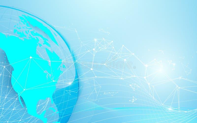 与线和三角,在蓝色背景的点连接的网络的全球性和世界地图 库存例证