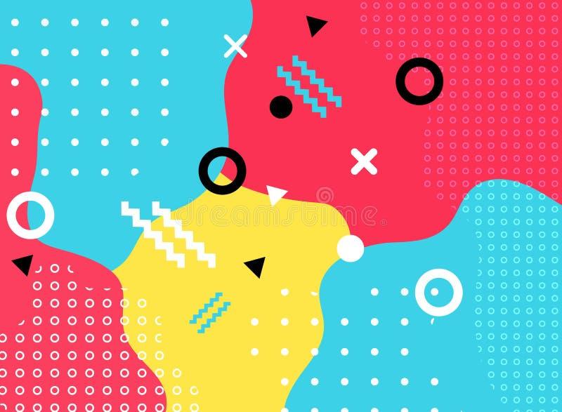 与线和光点图形时髦memphi的抽象几何形式 向量例证