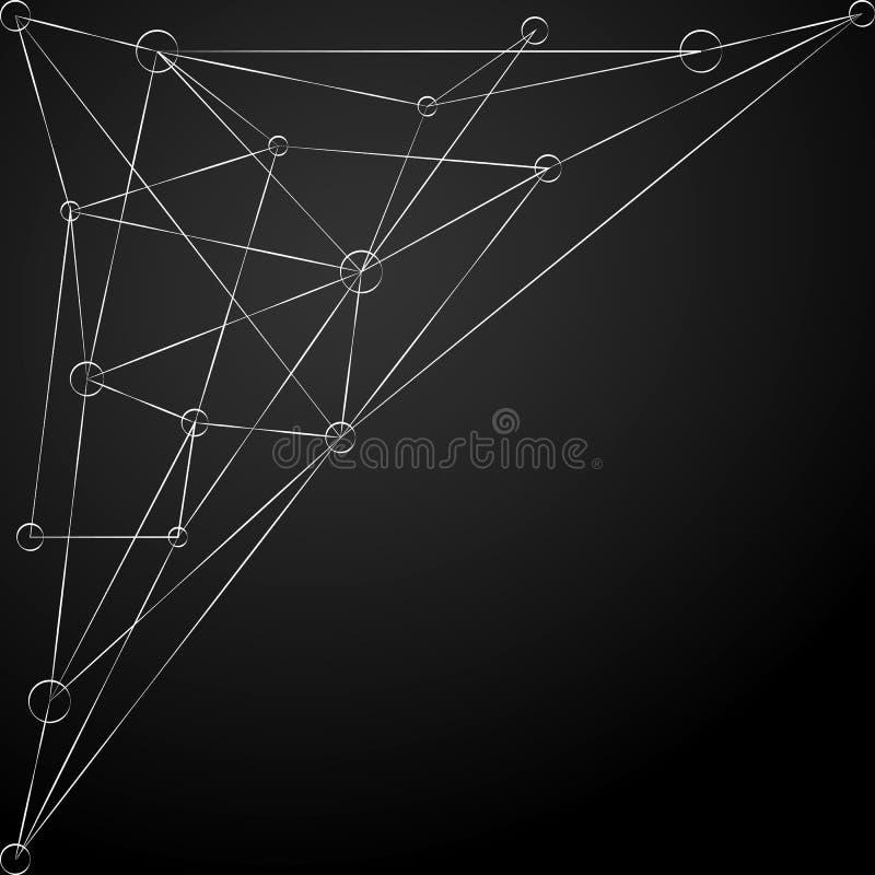 与线和小点的抽象多角形白色 背景数字式未来派 向量 向量例证