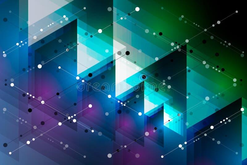 与线和小点的现代几何抽象传染媒介背景 库存例证