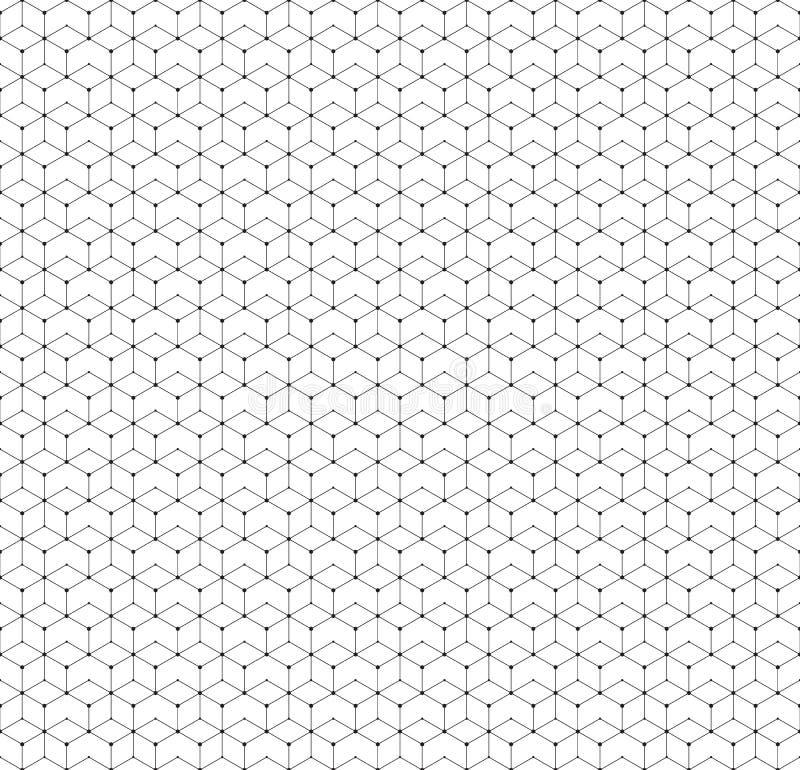 与线和小点,现代时髦的传染媒介纹理的六角无缝的样式 皇族释放例证