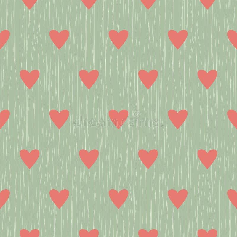 与线和心脏的无缝的背景 库存例证