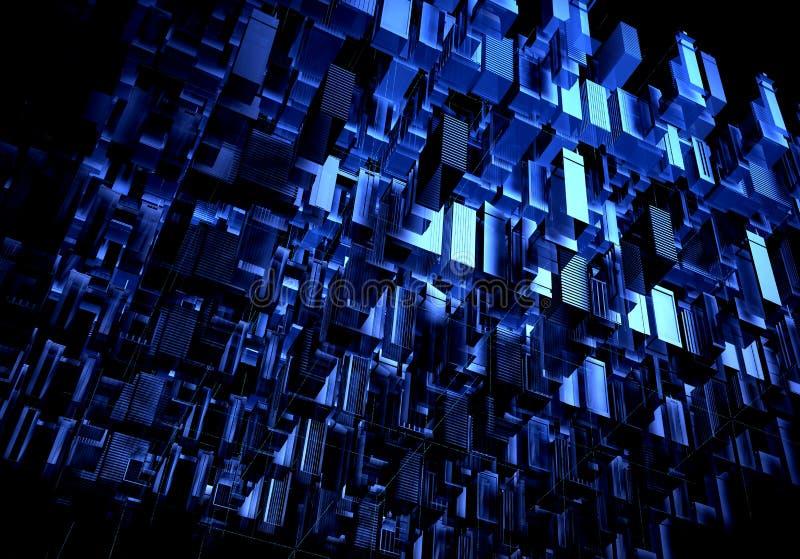与线和数字式元素的抽象3d城市翻译 数字摩天大楼 技术和连接概念 透视图 库存例证