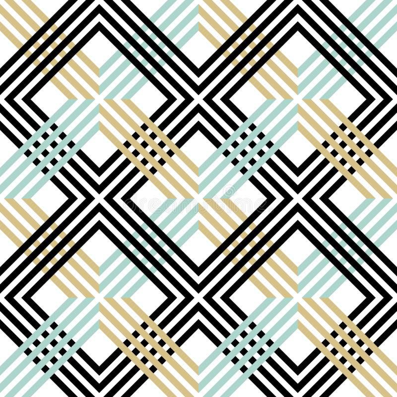与线和栅格的抽象镶边几何样式 在黑,蓝色和金子颜色的无缝的减速火箭的色的背景 向量例证