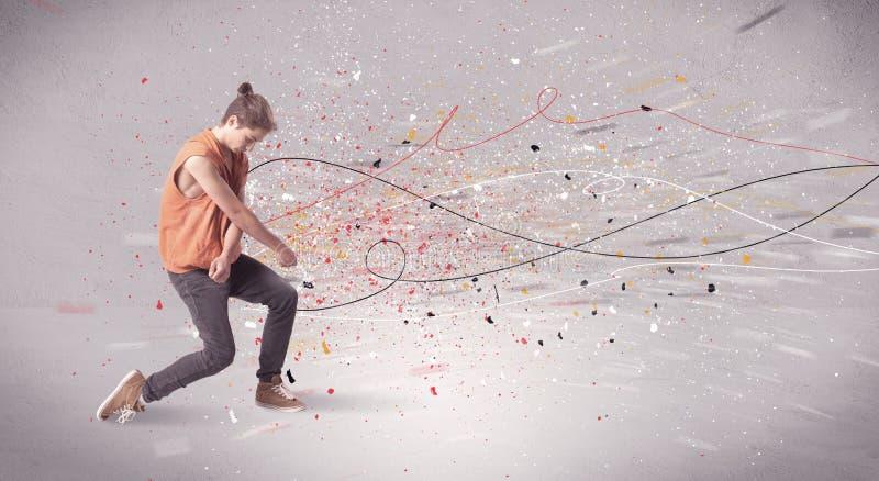 与线和泼溅物的都市跳舞 免版税库存照片