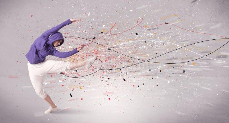 与线和泼溅物的都市跳舞 库存照片