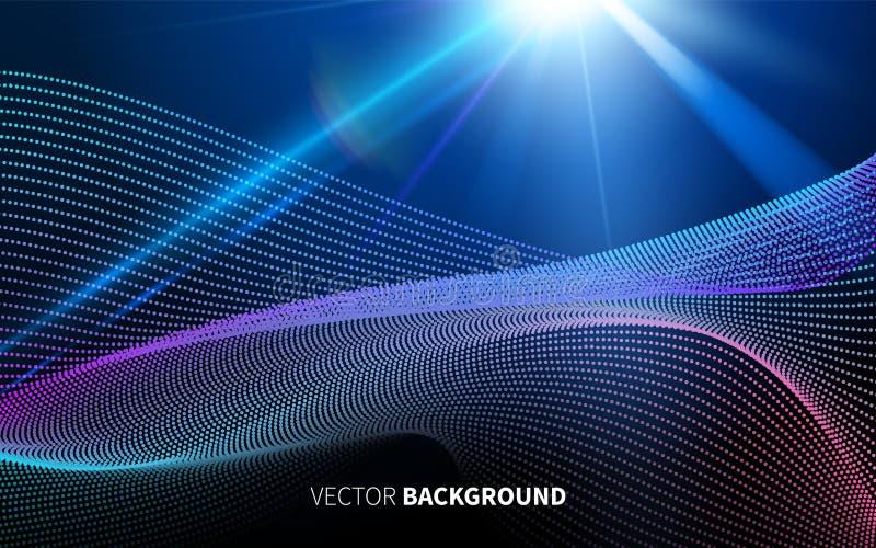 与线性样式的抽象未来派技术塑造在深蓝背景的光 向量例证