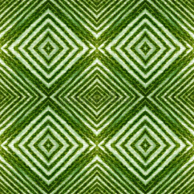 与线的抽象设计和表面上的几何样式与绿色和白色螺纹、背景和纹理 皇族释放例证