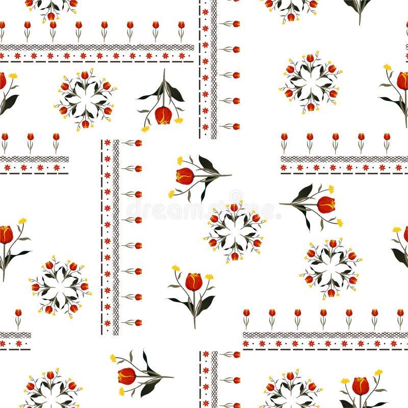 与线的美丽的红色郁金香花在漂泊时尚的围巾样式无缝的样式传染媒介设计,织品,网,墙纸和 向量例证