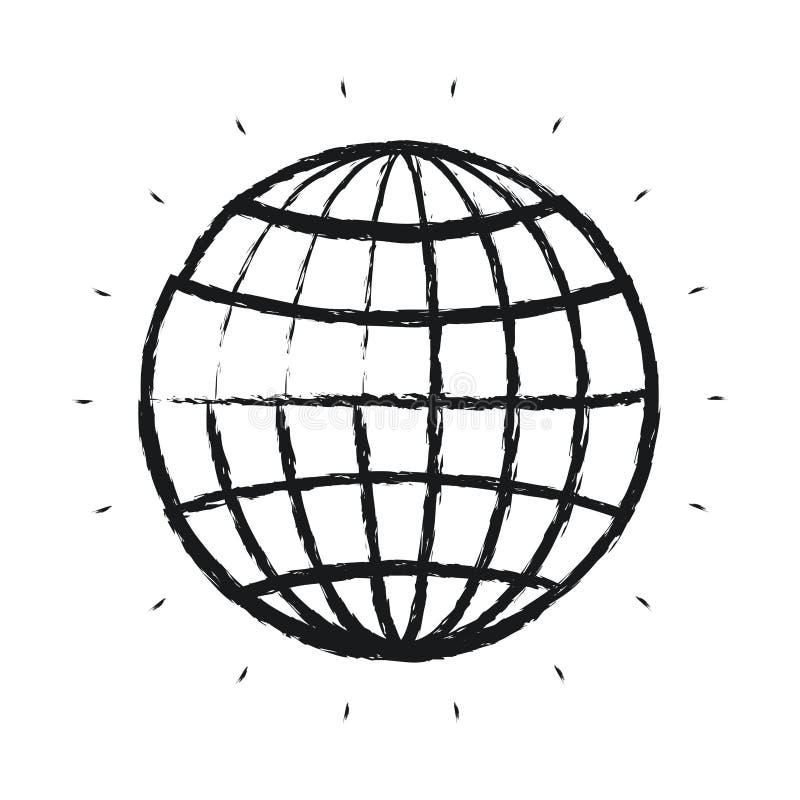 与线的被弄脏的剪影正面图地球地球世界图 库存例证