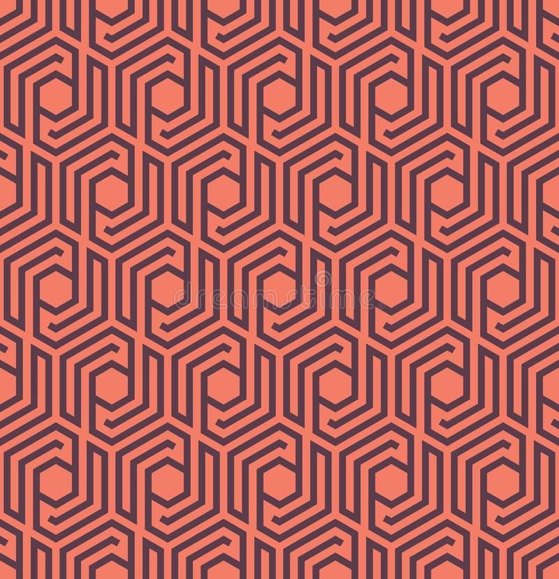 与线的Seamles几何样式和六角形-导航eps8 皇族释放例证