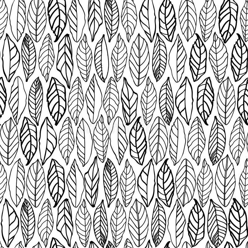 与线艺术叶子的白色样式 向量例证