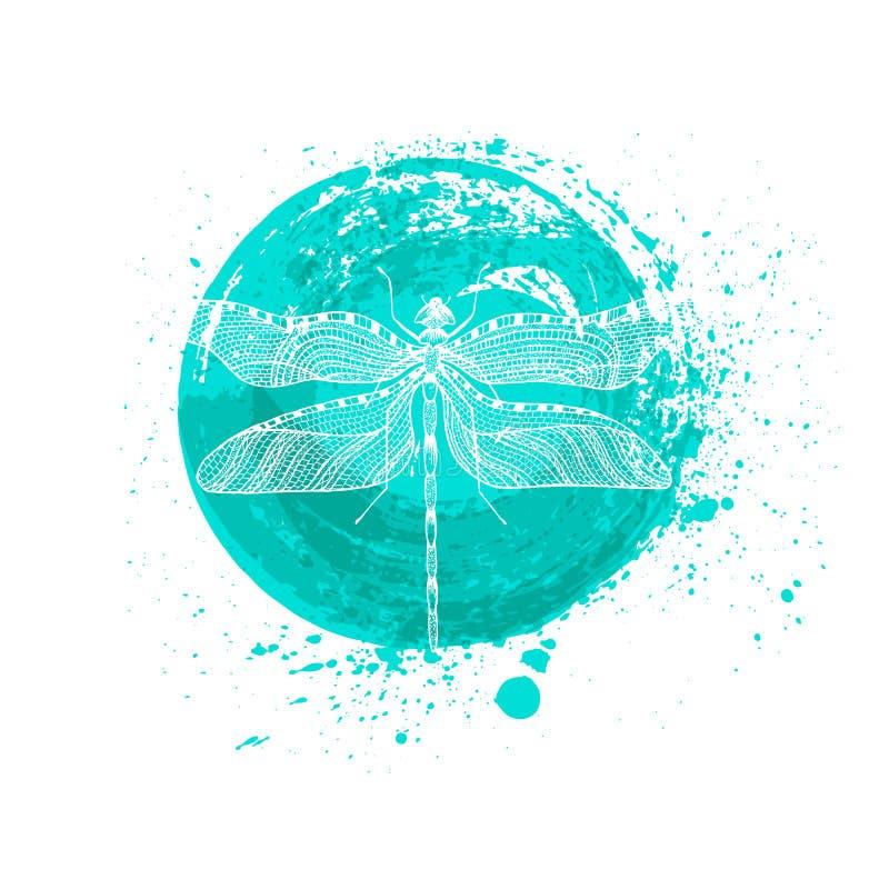 与线艺术样式的最低纲领派典雅的蜻蜓商标设计 向量例证