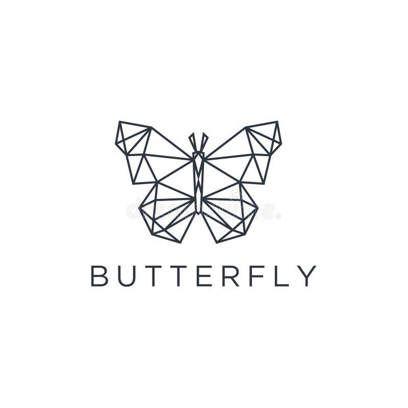 与线艺术样式的最低纲领派典雅的蝴蝶商标设计 传染媒介 向量例证
