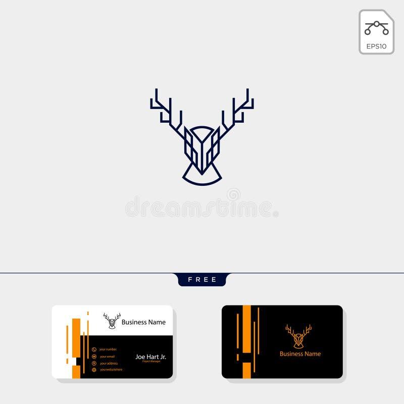 与线艺术样式,传染媒介例证自由名片设计模板的顶头鹿商标模板 库存例证