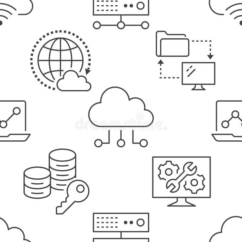 与线象的云彩数据存储无缝的样式 数据库背景,信息存储,服务器中心,全球性 皇族释放例证
