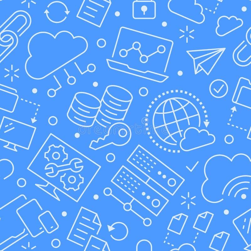 与线象的云彩数据存储无缝的样式 数据库背景,信息存储,服务器中心,全球性 库存例证