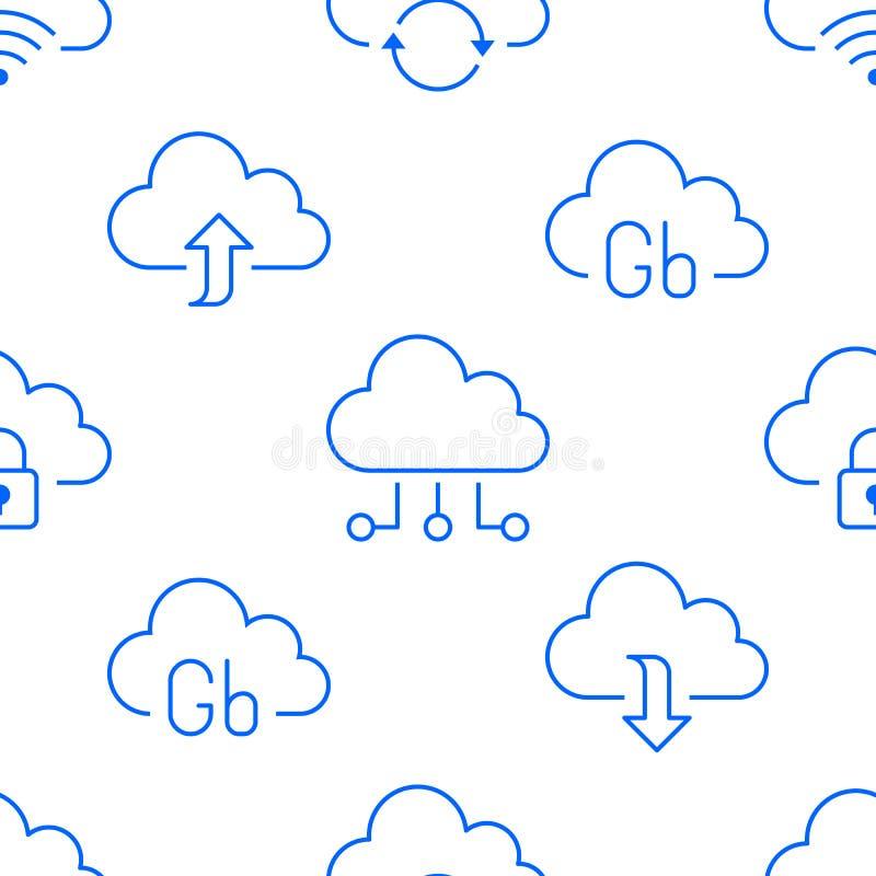 与线象的云彩数据存储无缝的样式 数据库背景,信息服务器中心,全球网络 皇族释放例证