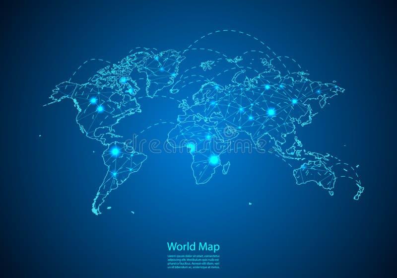 与线连接的结的世界地图 全球性通信和事务的概念 从白色小点创造的黑暗的地图用旅行 向量例证