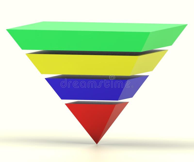 与细分市场显示层次结构的被倒置的金字塔 库存例证
