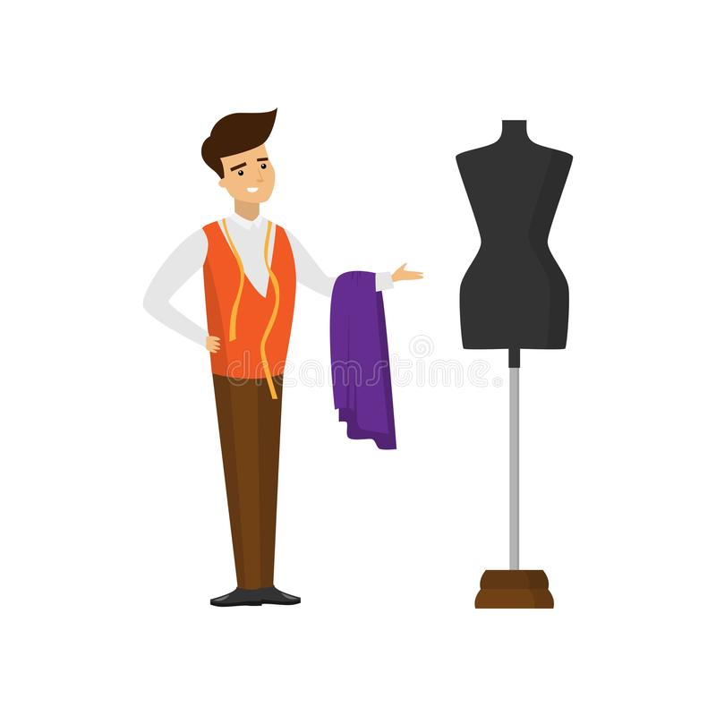 与织品和测量的磁带和指向手裁减的裁缝身分时装模特 皇族释放例证