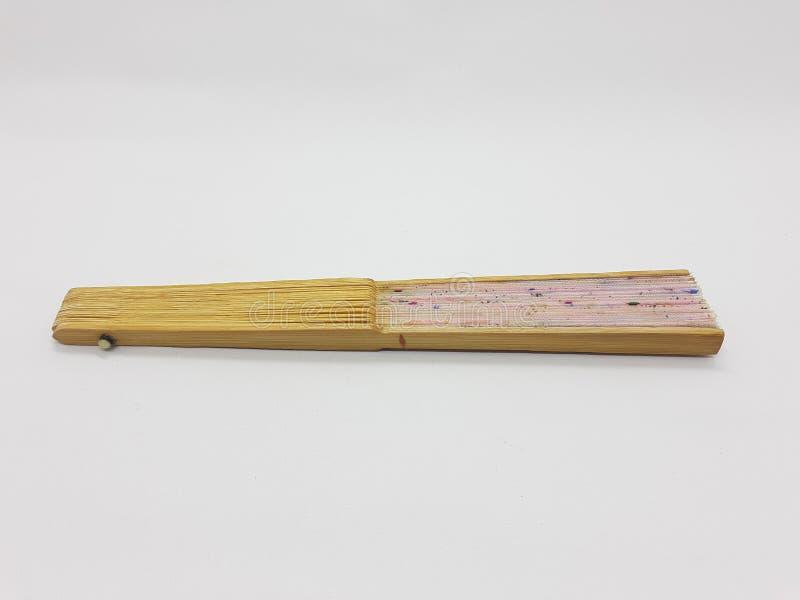 与织品袖子的木竹丝绸折叠的爱好者中国日本葡萄酒减速火箭的样式手工制造丝绸花卉样式手爱好者和 库存照片