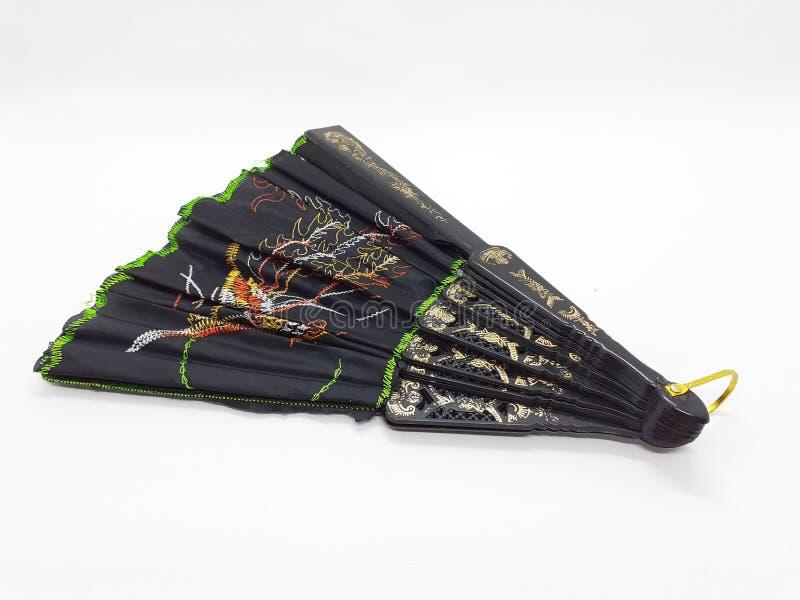 与织品袖子04的木竹丝绸折叠的爱好者中国日本葡萄酒减速火箭的样式手工制造丝绸花卉样式手爱好者 免版税库存图片