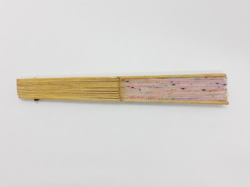 与织品袖子04的木竹丝绸折叠的爱好者中国日本葡萄酒减速火箭的样式手工制造丝绸花卉样式手爱好者 免版税库存照片